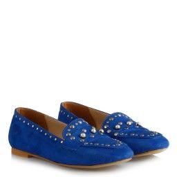 Saks Mavi Süet Zımbalı Model Babet Ayakkabı