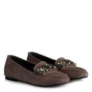 Babet Ayakkabı Düz Model Gri Süet Taşlı