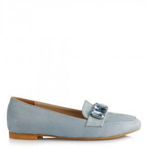 Babet Ayakkabı Düz Model Bebe Mavi Süet Taşlı