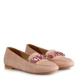 Babet Ayakkabı Düz Model Pudra Süet Taşlı