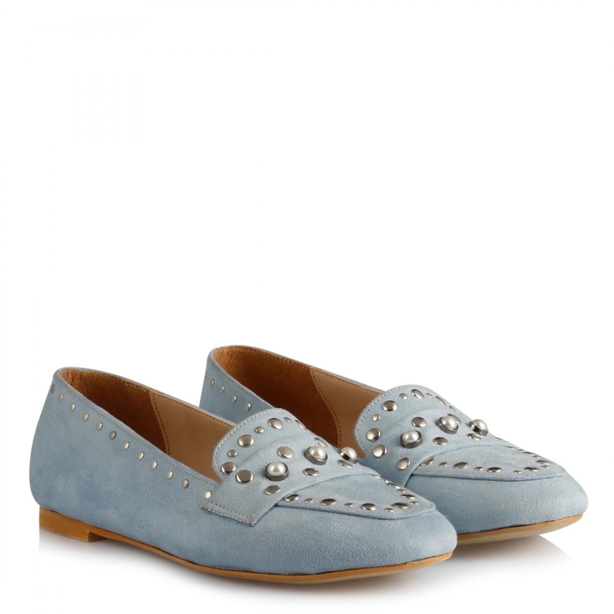 Babet Ayakkabı Bebe Mavi Süet Zımbalı Model