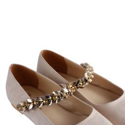 Babet Ayakkabı Bej Süet Taşlı Kemerli