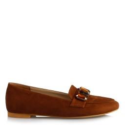 Babet Ayakkabı Düz Model Taba Süet Taşlı