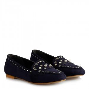 Babet Ayakkabı Lacivert Süet Zımbalı Model