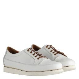 Beyaz Bağcıklı Hakiki Deri Ayakkabı