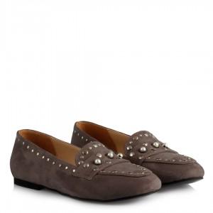 Gri Süet Zımbalı Model Babet Ayakkabı