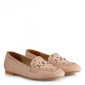 Pudra Süet Zımbalı Model Babet Ayakkabı