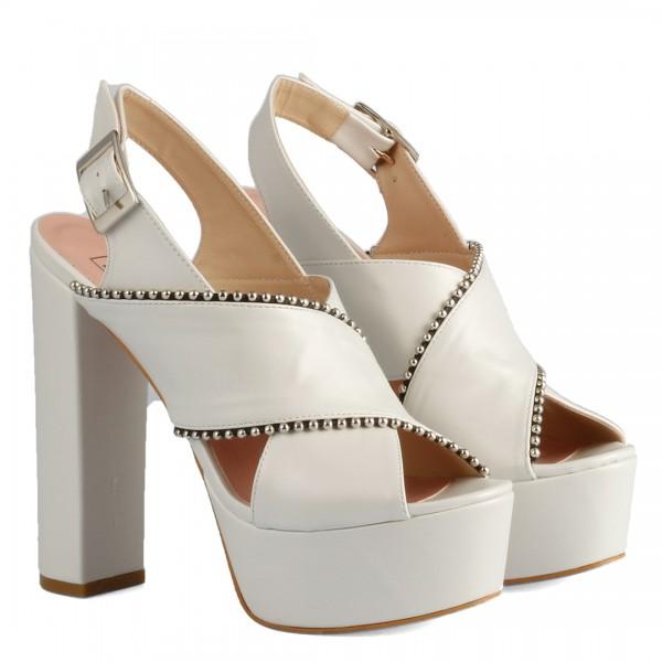 Gelin Ayakkabısı Çapraz Bantlı Kalın Topuklu