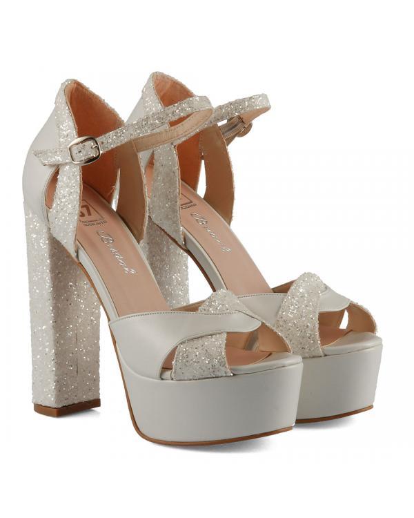 Gelin Ayakkabısı Platform Topuk Cam Kırığı
