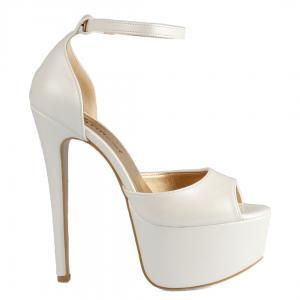 Gelin Ayakkabısı Platform Topuklu İnci Beyazı