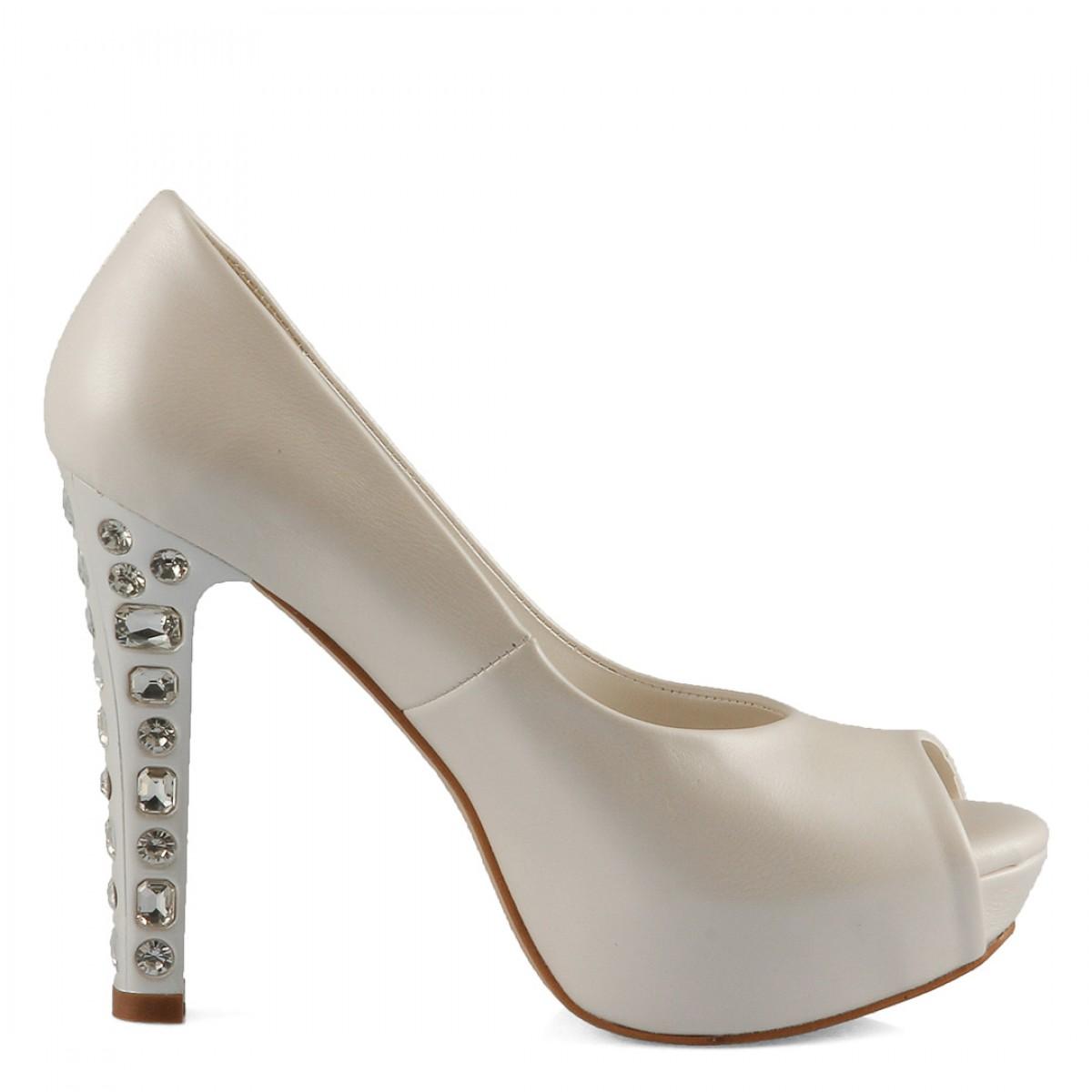 Gelin Ayakkabısı Topuk Taşlı Model