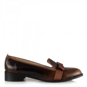 Kahverengi Rugan Fiyonklu Bayan Ayakkabı
