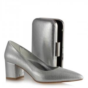 Stiletto Ayakkabı El Çantası Takım Lame Yaldızlı