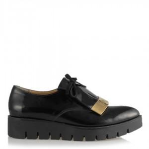 Siyah Rugan Metal Bayan Ayakkabı