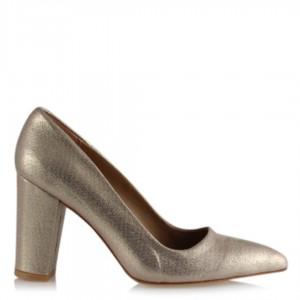 Stiletto Kalın Topuklu Ayakkabı Dore Yaldızlı
