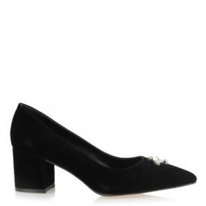 Siyah Süet Taşlı Kalın Topuklu Stiletto