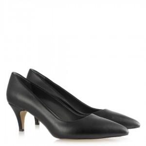Siyah Stiletto Alçak Topuklu Hakiki Deri