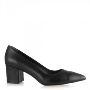 Stiletto Kalın Topuklu Hakiki Deri Siyah