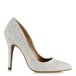 Beyaz Cam Kırığı Stiletto Nikah Ayakkabısı