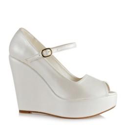 Gelin Ayakkabısı İnci Beyazı Kemerli Dolgu Topuk