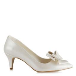 Stiletto Gelin Ayakkabısı Kırık Beyaz Fiyonklu
