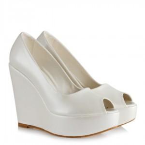 Düğün Ayakkabısı 19 Pont Dolgu Topuk Sedef Ön Açık
