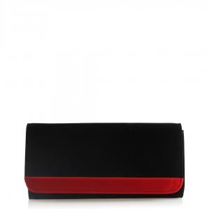 Portföy Çanta Siyah Süet Kırmızı Şeritli