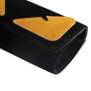 Siyah Süet Sarı Detaylı Portföy Çanta