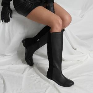 Çizme Düz Model Siyah Hakiki Deri & Süet