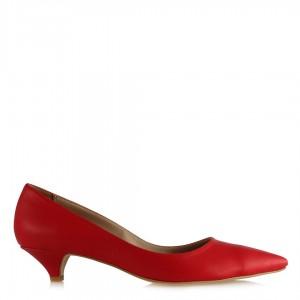 Stiletto Kırmızı Alçak Topuklu Ayakkabı