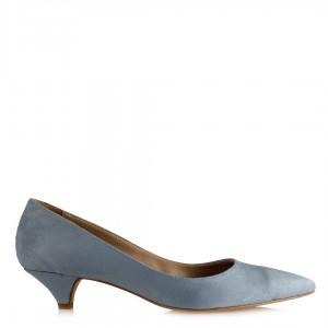 Stiletto Ayakkabı Az Topuklu Bebe Mavi Süet