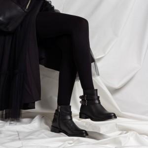 Siyah Tokalı Düz Bayan Bot