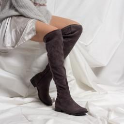 Binici Streç Çorap Çizme Gri Süet