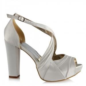 Gelin Ayakkabısı Kırık Beyaz Saten Çapraz