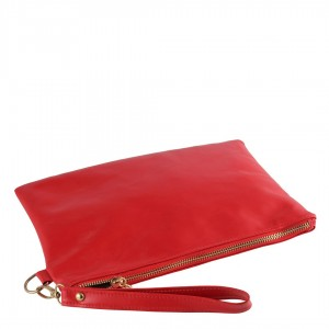 Clutch Çanta Kırmızı Mat Deri