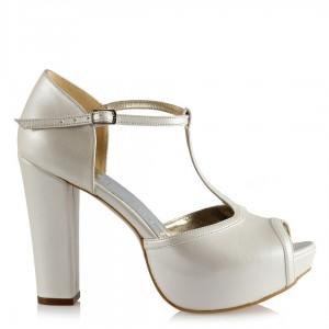 Nikah Ayakkabısı Kırık Beyaz Direkli Model