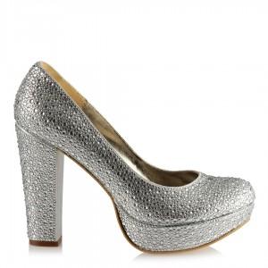 Gümüş Taşlı Platform Ayakkabı