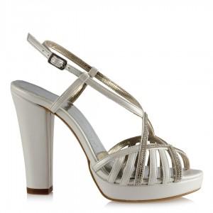 Nikah Ayakkabısı Taşlı Kafes Çapraz Bantlı
