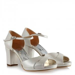 Gelin Ayakkabısı Az Topuklu Çapraz Bilekli