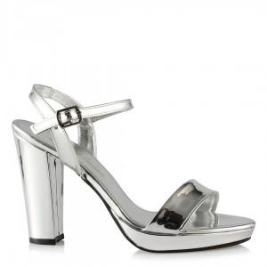 Topuklu Lame Ayna Ayakkabı  Tek Bantlı