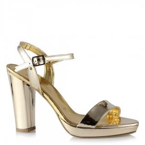 Bayan Topuklu Ayakkabı Dore Ayna Tek Bantlı