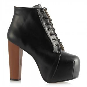 Platform Bot Siyah Kahverengi Topuklu