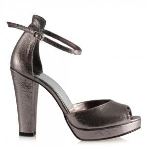 Füme Yaldızlı Abiye Ayakkabı  Kemerli