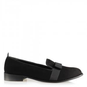 Düz Bayan Ayakkabı Siyah Süet Fiyonklu