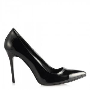 Stiletto Yüksek Topuklu Siyah Rugan