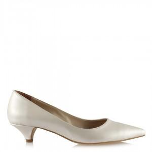 Nikah Ayakkabısı Kırık Beyaz Az Topuklu Stiletto