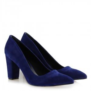 Stiletto Ayakkabı Saks Mavi Süet Kalın Topuklu