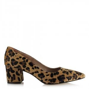 Leopar Stiletto Ayakkabı Kalın Topuklu