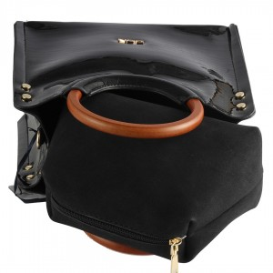 Bayan Çanta Siyah Rugan El Çantası