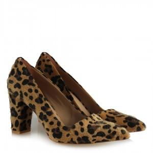 Stiletto Ayakkabı Leopar Kalın Topuklu